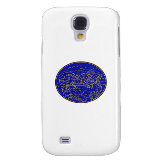 Northern Pike Fish Oval Mono Line Galaxy S4 Case