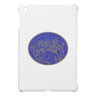 Northern Pike Fish Oval Mono Line iPad Mini Case