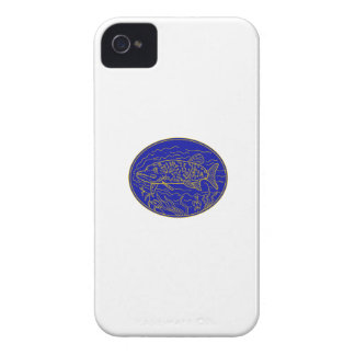 Northern Pike Fish Oval Mono Line iPhone 4 Cover