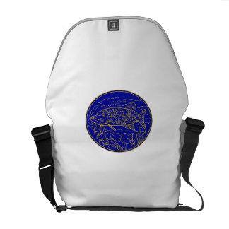 Northern Pike Fish Oval Mono Line Messenger Bag
