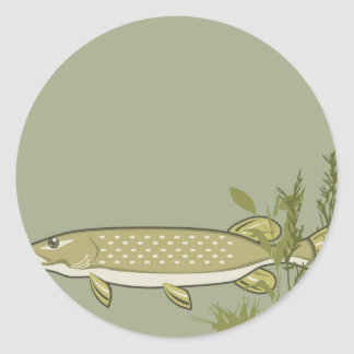 Northern Pike Vector Classic Round Sticker