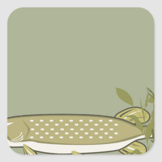 Northern Pike Vector Square Sticker