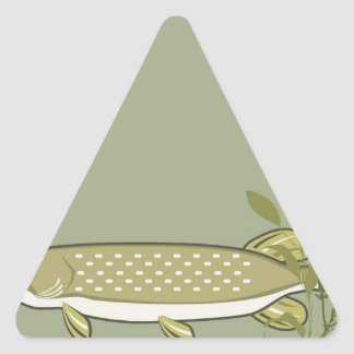 Northern Pike Vector Triangle Sticker