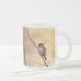 Northern Pygmy Owl Frosted Glass Coffee Mug