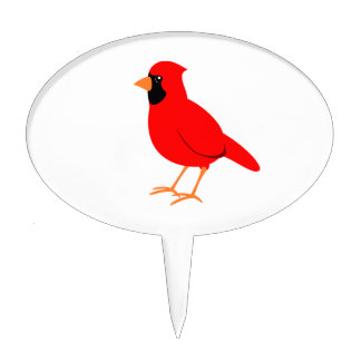 Northern Red Cardinal Bird Cake Topper