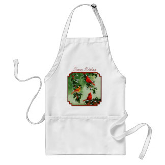 Northern Red Cardinals and Holly Adult Apron