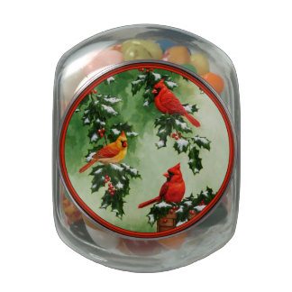 Northern Red Cardinals and Holly Glass Jar