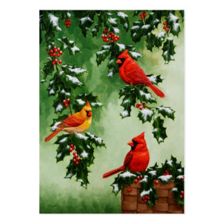 Northern Red Cardinals and Holly Large Business Card