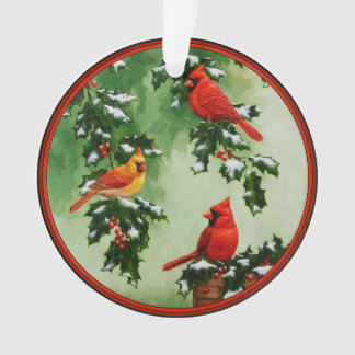 Northern Red Cardinals and Holly Ornament