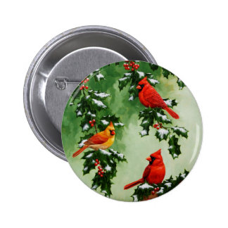 Northern Red Cardinals and Holly Pinback Button