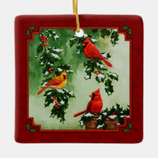 Northern Red Cardinals and Holly Red Ceramic Ornament