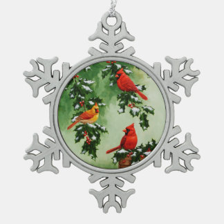 Northern Red Cardinals and Holly Snowflake Pewter Christmas Ornament