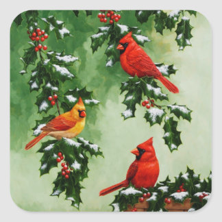 Northern Red Cardinals and Holly Square Sticker