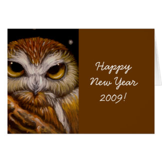 NORTHERN SAW-WHET OWL, Happy New Year 2009! Card