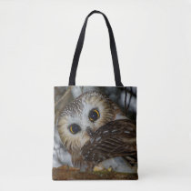Northern Saw-whet Owl in a Tree Tote Bag