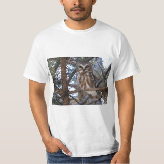 Northern Saw-Whet Owl in Pine Tree T-shirt