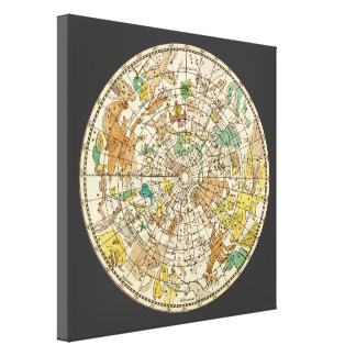 Northern Sky Star Chart and Constellations Map Canvas Print
