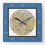 Northern Sky Star Chart and Constellations Map Square Wallclock