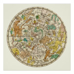 Northern Sky Star Chart and Constellations Map Poster