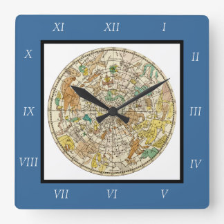 Northern Sky Star Chart and Constellations Map Square Wall Clock