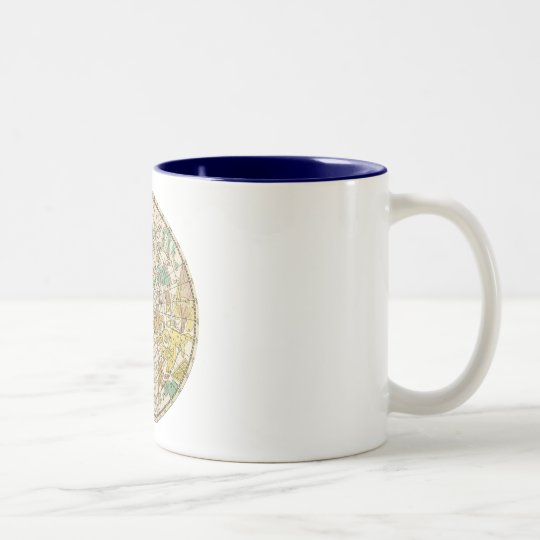 Northern Sky Star Chart and Constellations Map Two-Tone Coffee Mug