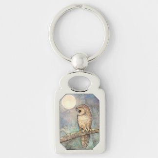 Northern Spotted Owl Wildile Watercolor Art Silver-Colored Rectangular Metal Keychain