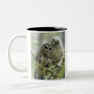 Northern Spotted Owl with Owlet Two-Tone Coffee Mug