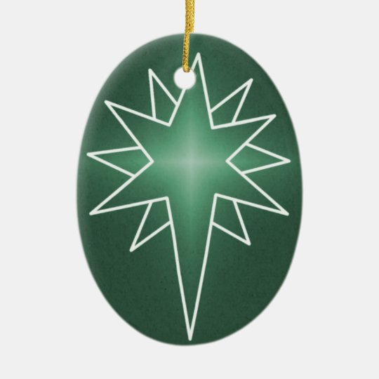 Northern Star Oval Christmas Ornament, Green Ceramic Ornament