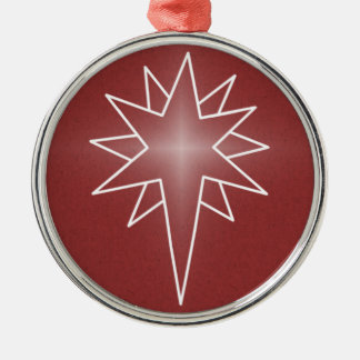 Northern Star Premium Round Ornament, Red Metal Ornament