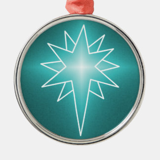 Northern Star Premium Round Ornament, Turquoise Metal Ornament