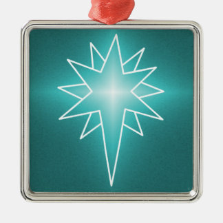 Northern Star Premium Square Ornament, Turquoise Metal Ornament