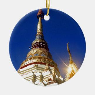 Northern Thai Buddhist Temple Pagoda Ceramic Ornament