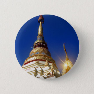 Northern Thai Buddhist Temple Pagoda Pinback Button