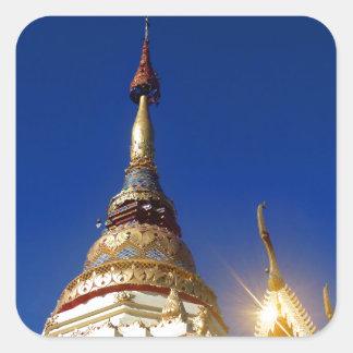 Northern Thai Buddhist Temple Pagoda Square Sticker