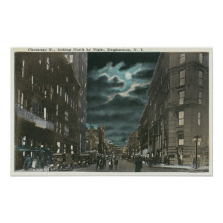 Northern View of Chenango Street at Night Poster