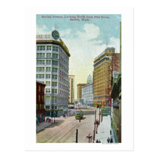 Northern View of Second Ave from Pike Street Postcard