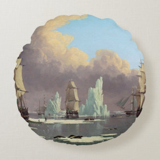 """Northern Whale Fishery: """"Swan"""" & """"Isabella"""" Round Pillow"""