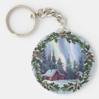 NORTHERNLIGHTS LOG CABIN WREATH by SHARON SHARPE Key Chains