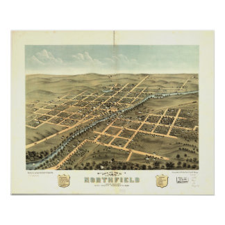 Northfield Minnesota 1869 Antique Panoramic Map Poster
