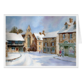 Northleach Market Place in Snow Greeting Card