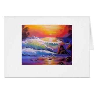 Northshore Oahu Sunset Original Painting Card