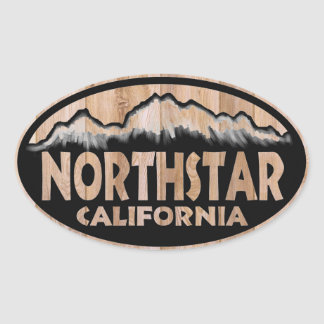 Northstar California wooden sign oval stickers