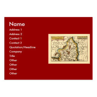 Northumberland County Map, England Large Business Cards (Pack Of 100)