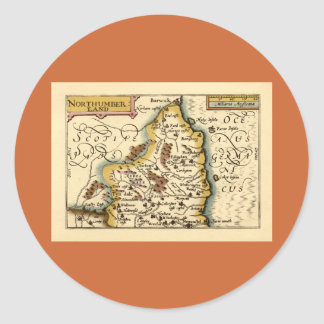 Northumberland County Map, England Classic Round Sticker