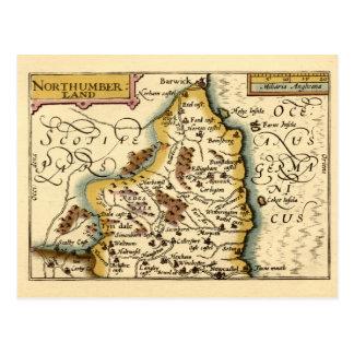 Northumberland County Map England Post Card