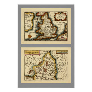 Northumberland County Map, England Poster