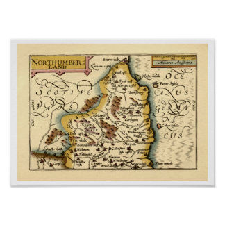 Northumberland County Map, England Posters