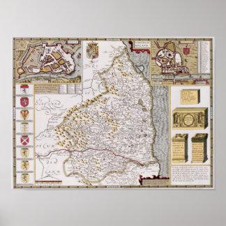 Northumberland, engraved by Jodocus Hondius Poster
