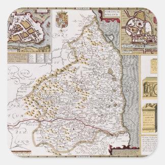 Northumberland, engraved by Jodocus Hondius Square Sticker
