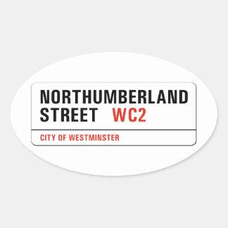 Northumberland Street, London Street Sign Oval Sticker